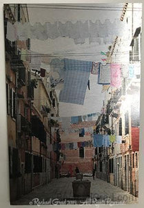 "Laundry Lines, Arsenale, Venice, Italy, Ink on Metal Limited Edition Print-rachaelgrad-12"" x 18""-rachaelgrad artsy gifts colorful artwork multicolor"