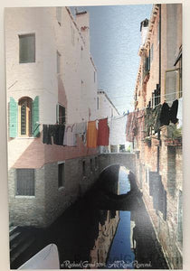 "Laundry Lines, Dorsoduro, Venice, Italy Ink on Metal Limited Edition Print, 16"" x 24""-Art Print-rachaelgrad-rachaelgrad artsy gifts colorful artwork multicolor"