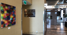 Load image into Gallery viewer, old shoes and abstract art print by artist rachael grad on view in hotel hilton toronto/markham conference centre & spa