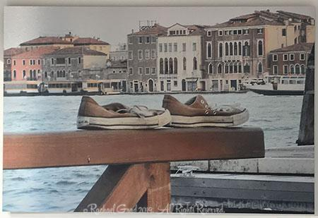 Old Shoes, Venice, Italy, Ink on Metal Limited Edition Print, 24
