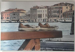 "Old Shoes, Venice, Italy, Ink on Metal Limited Edition Print, 24"" x 36""-rachaelgrad-36"" x 24""-rachaelgrad artsy gifts colorful artwork multicolor"