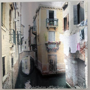 "Yellow House, Venice, Italy, Ink on Metal Limited Edition Print, 16"" x 16""-rachaelgrad-16"" x 16""-rachaelgrad artsy gifts colorful artwork multicolor"