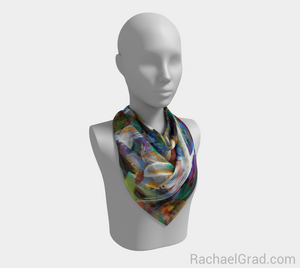 Abstract Scarf 1 Square Brushstrokes-Square Scarf-rachaelgrad-rachaelgrad artsy abstract colorful artwork multicolor
