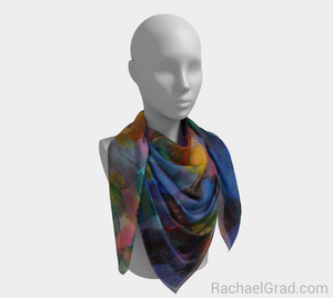 Dot Series 1 Blues Square Scarf-Square Scarf-rachaelgrad-rachaelgrad artsy abstract colorful artwork multicolor