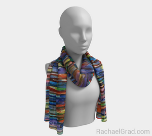 Fluid Long Scarf Bright Colours 2-Long Scarf-rachaelgrad-rachaelgrad artsy abstract colorful artwork multicolor