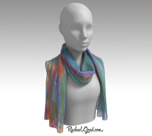 Turquoise Scarf | Abstract Art Scarves for Women | Colorful Teal Scarf | Color Art Scarves by Toronto Artist Rachael Grad