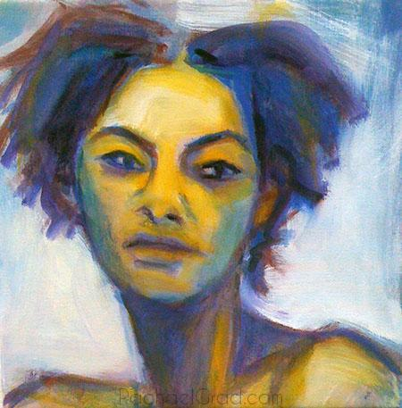 Blue Portrait of P, Oil on Linen Painting, 2010 Rachael Grad Art Artist