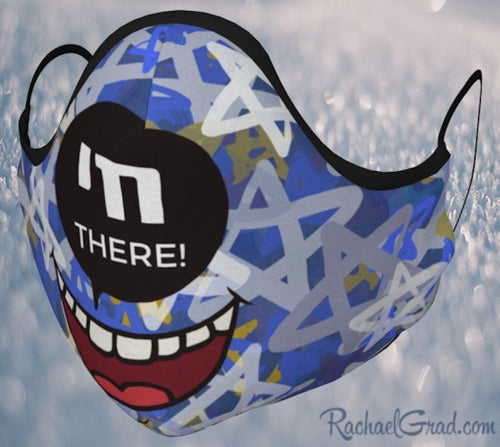 Jewish joke face mask with stars art by Canadian artist Rachael Grad