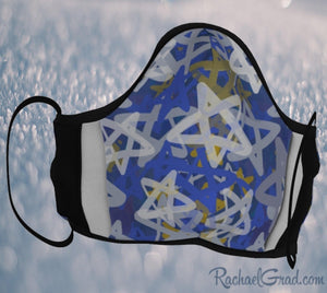 Jewish face mask with stars art by Canadian artist Rachael Grad
