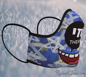 Jewish pun face mask with stars art by Canadian artist Rachael Grad
