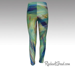 Kids Leggings with Green Abstract Art by Toronto Artist Rachael Grad back view