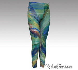 Kids Leggings with Green Abstract Art by Toronto Artist Rachael Grad front view