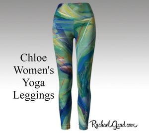 Womens Yoga Leggings with Green Artwork, Canadian Artist Rachael Grad