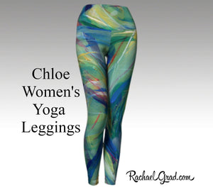 Womens Yoga Leggings with Green Artwork by Toronto, Canada Artist Rachael Grad