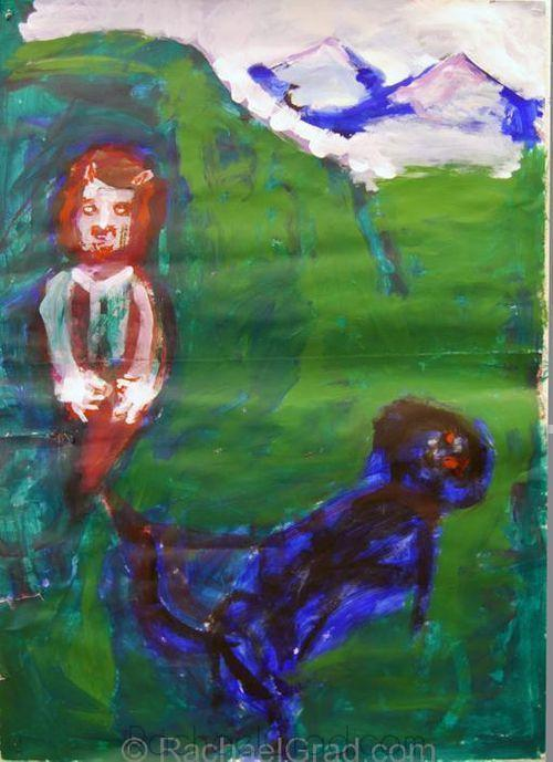 Dog and Demon Oil on Paper Painting by Artist Rachael Grad green white blue black art