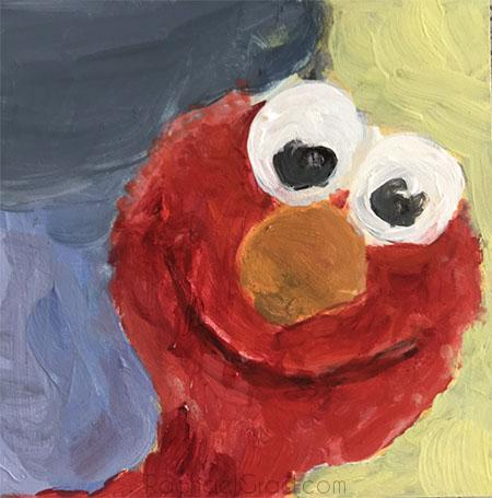 Elmo Portrait, Acrylic on Panel Painting, 2018 by Rachael Grad Art Artist
