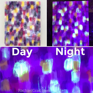 Glow in the Dark Painting Dot Series by Toronto Artist Rachael Grad night and day