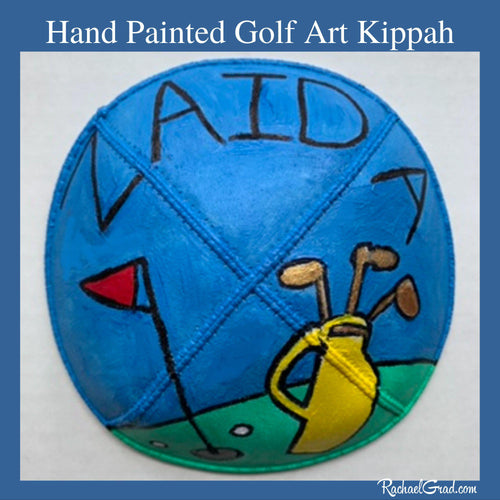 Hand Painted Kippah Yarmulka Colorful Golf Art by Artist Rachael Grad