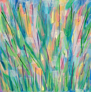 Green Grass Abstract Painting with Yellow, Blue, Pink, Orange by Artist Rachael Grad