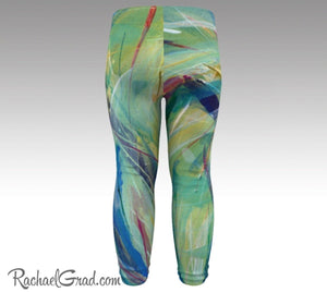 green baby leggings by toronto artist Rachael Grad chloe style tights back view baby tights