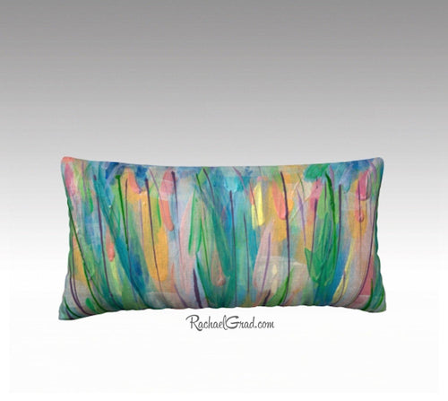 Green Grass Flowers Art Pillow, Abstract Art Long Pillowcase, Abstract Floral Pillow Cover by Artist Rachael Grad