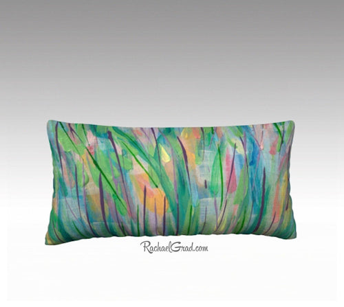 Green Grass Flowers Art Pillow, Abstract Art Long Pillowcase, Abstract Floral Pillow Cover, Velvet Linen Pillowcase, Green Decorative Pillow by Artist Rachael Grad
