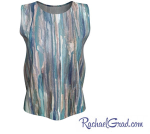 grey blue striped tank top by artist Rachael Grad