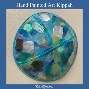 hand painted abstract art kippah by artist Rachael Grad blue white grey teal yellow
