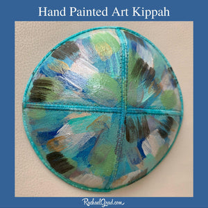 hand painted abstract art kippah by artist Rachael Grad blue white grey teal