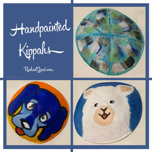 Custom Made Hand painted kippahs by artist Rachael Grad with dog alpaca abstract art