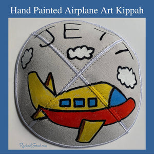 airplane kippah hand painted art by Canadian artist Rachael Grad