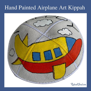 hand painted airplane art kippah by Canadian artist Rachael Grad for Freddy