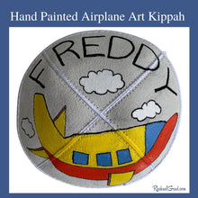 Load image into Gallery viewer, hand painted airplane art kippah by Toronto artist Rachael Grad
