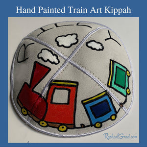 Hand Painted Train Art Kippah by Canadian Artist Rachael Grad