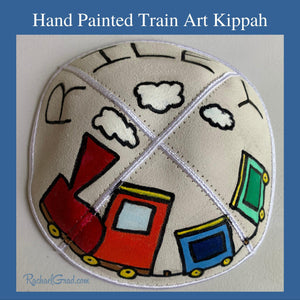 hand painted kippah with train art  by Canadian artist Rachael Grad