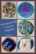 Load image into Gallery viewer, custom yarmulkes hand painted by Toronto Artist Rachael Grad