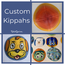 Load image into Gallery viewer, custom kippahs hand painted by Toronto Artist Rachael Grad