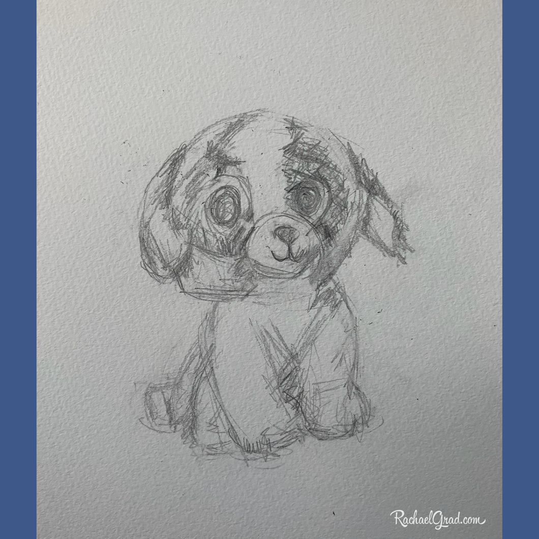 Beanie Boo Dog Drawing by Artist Rachael Grad