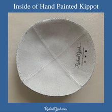 Load image into Gallery viewer, inside of hand painted kippot by artist Rachael Grad custom yarmulka white suede