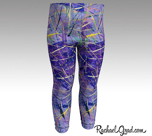 Holiday gift for Babies, Purple Baby Leggings Shower Gift, Newborn Girl Coming Home Outfit by Toronto Artist Rachael Grad