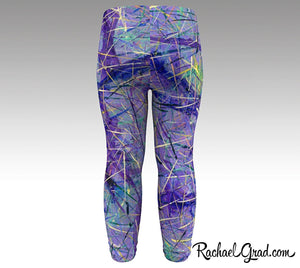 Back view of Purple Abstract Art Baby Leggings by Toronto Artist Rachael Grad