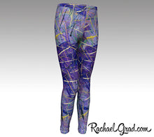 Load image into Gallery viewer, Holiday gift for Mom, Mommy and Me Matching Purple Leggings, Mom and Daughter Outfit by Artist Rachael Grad