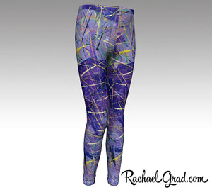 Holiday gift for Mom, Mommy and Me Matching Purple Leggings, Mom and Daughter Outfit by Artist Rachael Grad
