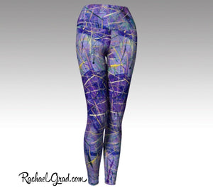 Purple Fitness Wear | Workout Wear for Women| Ladies Pants Art by Artist Rachael Grad
