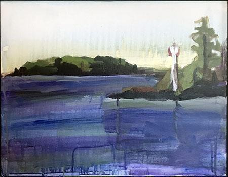Lake Muskoka, Taboo Resort, Acrylic on Canvas Painting, 2010 Rachael Grad Art