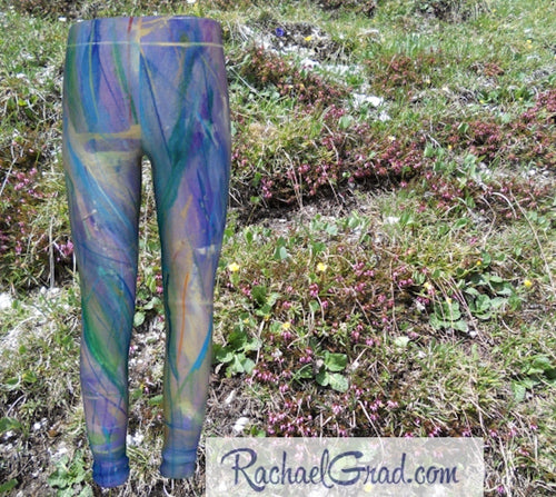 Maia Kids Leggings in Blue and Purple by Toronto Artist Rachael Grad front