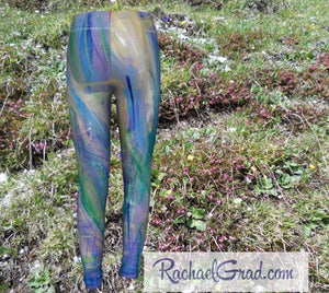 Maia Kids Leggings in Blue and Purple by Toronto Artist Rachael Grad back view