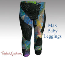Load image into Gallery viewer, max baby leggings in dramatic black abstract art print by artist rachael grad