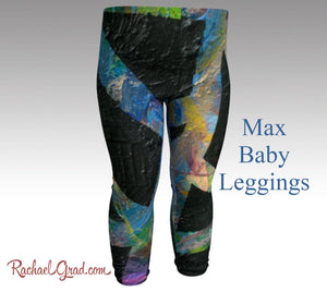 max baby leggings in dramatic black abstract art print by artist rachael grad