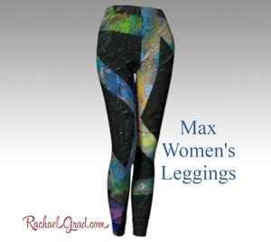 Black leggings for women in a dramatic abstract art pattern max legging by artist Rachael Grad